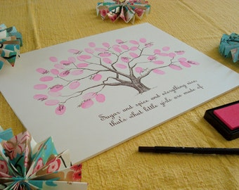 Customizable Baby Shower Thumbprint Tree Guestbook Poster - Personalized Nursery Wall Art