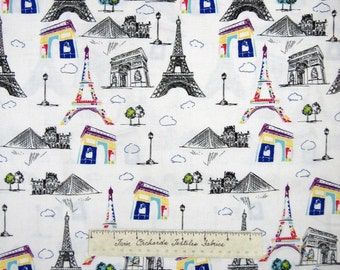 Pepe in Paris Fabric - Eiffel Tower Louvre Arc de Triomphe - Riley Blake YARD