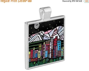 50% SALE- Denver Colorado City Skyline Necklace Folk Art Jewelry - Pendant Metal  Gift Art Heather Galler Gift-  Travel Abstract Modern