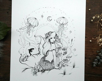Original art mermaid with jellyfish, pen drawing, illustration on white sheet canson, gift idea