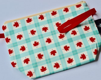 OOAK Canada 150 - Sock Project Bag, 1-2 skeins project bag, Zipper Pouch, zip pouch, project pouch, wedge pouch,  knitting bag, crochet bag