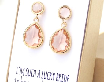 Peach Champagne / Gold Two Piece Teardrop Post Earrings - Peach and Gold Earrings - Champagne Stud Earrings - Gold Bridesmaid Earrings - EB3