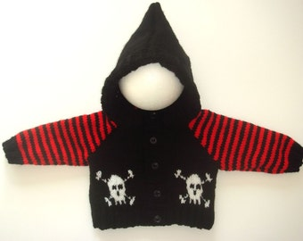 Baby Goth/Emo/Punk Hand Knitted Skull Cross-bone Hoodie/Cardigan/Jacket 0-3 Months OR 6-12 Months  Made & Ready To Ship