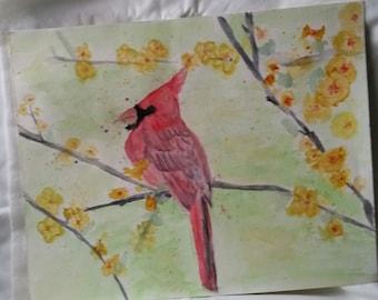 Original aquarelle peinture rouge Cardinal attend sa Dame 11 x 14 bureau maison mur Art Decor cadeau