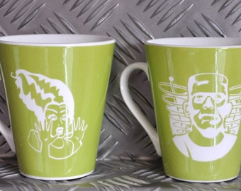 Frankenstein and Bride sandblasted green mugs