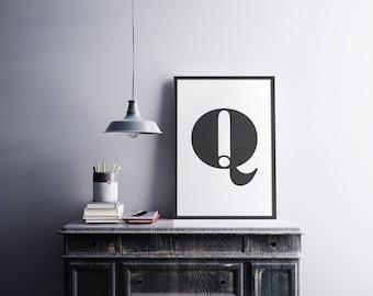 Personalised Letter Print - monogram - alphabet - type - monochrome - typography -