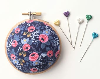 Embroidery Hoop Pincushion: Rosa Floral Navy - Gifts for Mom. Needle Holder. Needle Minder. Sewing Accessory. - Rifle Paper Co
