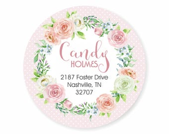 Pastel Rose Watercolor Wreath Address Labels Stickers Pink Green Polka Dots