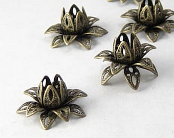 Brass Bronze Bead Cap 10 Vintage Dark Antique Bronze Flower 3 Tiered Layer Filigree Bendable 16mm (1082cap16z1)xz