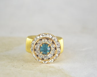 Crystal Gold Tone Cocktail Ring, Stretch Ring Band, Clear Crystals Around Aqua Crystal, Stretchy Ring
