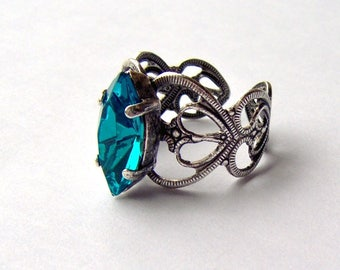 Blue Zircon rhinestone ring / December birthstone / antiqued silver / Swarovski crystal / gift for her / teal rhinestone / vintage style