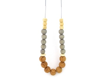 Wooden beaded necklace, gray brown necklace, minimalist necklace, extra long necklace, neutral necklace, mixed materials, gift for her