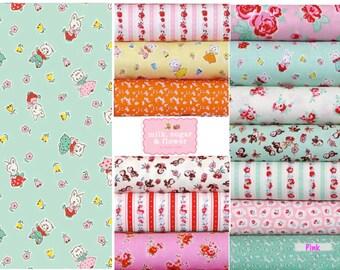 Cotton Fabric bundle, 13 Fat quarters, Vintage retro - Milk Sugar Flower by Elea Lutz for Penny Rose Riley Blake