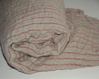 Pure linen throw blanket. Throw with red stripes. Pre-washed and softening. Beach blanket. Throw blanket. Natural linen throw.