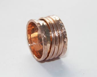 Hammered 3 band .925 Sterling Silver Spinner Ring- Custom Size Handcrafted 14K Pink Gold Plated
