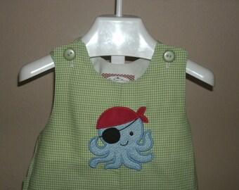 PERSONALIZED Pirate Octopus Shortall Jon Jon Monogrammed