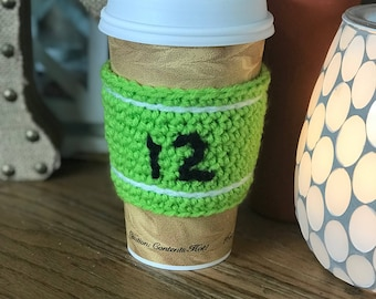 "Green ""12"" Seahawks Reusable Coffee Sleeve"