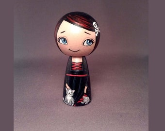 Goth Witch Girl Kokeshi Peg Wooden Doll
