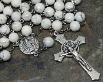 Edelstein-Rosenkranz aus weißem Howlith 5 Gesätze Rosenkranz katholischen Rosenkranz, St. Benedict Rosenkranz, Herren Rosenkranz, groß-Rosenkranz, der Heilige Rosenkranz