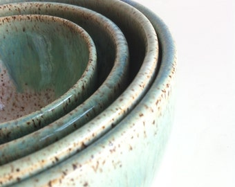 Kristen Rudick and Robert Sullivan Wedding Registry - Handmade Wheel Thrown Stoneware Nested Bowls Set- Made To Order