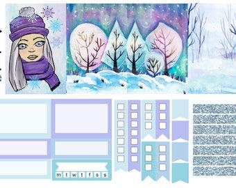 Hello Winter, one sheet, weekly kit, planner stickers, - full box, half box, happy planner, erin condren, matte, glossy, mini kit weekly