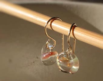 Water Droplet Earrings - Borosilicate Glass Teardrops on Gold Filled Wires in Clear Almond - Also Available in Sterling Silver
