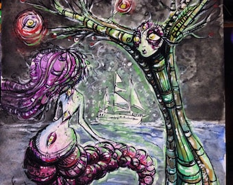Spectacle at Sea original pen and ink drawing and Watercolor painting