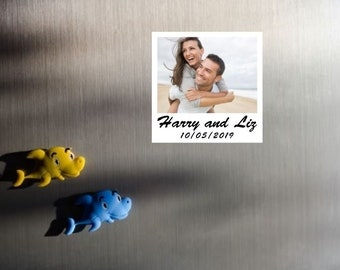 "6 x Save the Date photo magnets, 3"" x 3"", Polaroid, Personalised magnets, Personalized Wedding, Instant photo style"