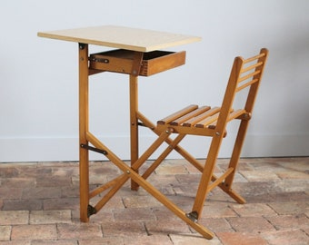 Wooden kids, folding desk, vintage, dating from the 50s/60s