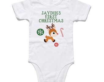 Very cute CUSTOM First Christmas romper with rudolph design. Perfect outfit for bubs on Christmas day. Create your own romper design