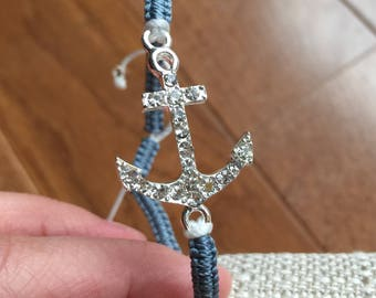 Silver rhinestone sparkle anchor bracelet