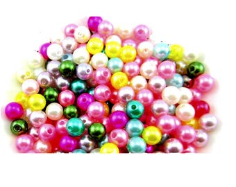 set of 100 assorted colors 4 mm acrylic beads