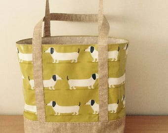 Oilcloth tote bag/ shopping bag/ lunch bag