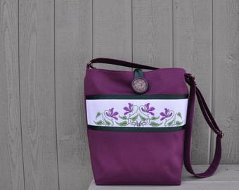 Purple Violets Cross-Stitch Shoulder Bag