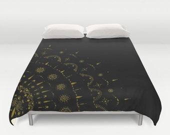 Black and Gold Duvet Cover, gold bed cover, black gold cover, black duvet cover, black gold duvet, gold bedding, black bedding