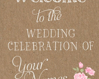 Welcome to Our Wedding Sign - Chalk Board / Kraft Effect / Bespoke