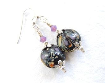 Nebula Earrings, Galaxy Earrings, Glass Dangle Earrings, Black Purple Lampwork Earrings, Accessories, Gift for Her