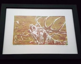 Bellowing Deer - Print from original woodcut by south-tyrolean artist Herbert Lampacher