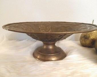 Vintage Brass Pedestal bowl ~ Etched leaf detailing ~