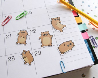 Silly Hamster Stickers, Paper Stickers, Journaling, Sticker Flakes, Cute Hamsters, Stationery, Scrapbooking, Cute Critters, Funny Hamsters