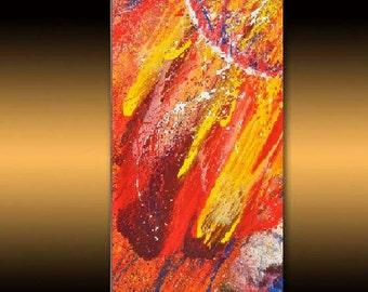 "Original LANDSCAPE PAINTINGS large acril painting, black & red PAINTING huge art sale online gallery Canvas art ,39"" X 19""  by Noldin"