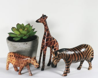 Vintage Wood African Animals - Set of handcarved safari animals - zebra, giraffe, and cheetah