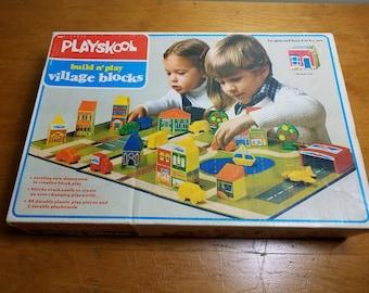 PlaySkool Build N' Play Village Blocks ~ Vintage