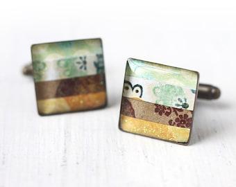 Mint Green, Brown and Yellow Unisex Cufflinks - Unisex Stripes Square Cuff Link for Men Groom Groomsmen Wedding Horizontal