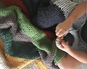 Blanket, Blankets and Throws, Blanket Wool, Chunky Knit Blanket, Chunky Knit Throw, Chunky Blanket, Super Chunky Blanket, Striped Blanket