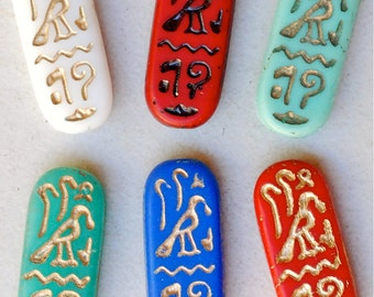 Czech Glass Eqyptian Cartouche Bead - 25mm x 10mm - Various Colors - Qty 4 or 10
