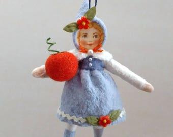 Herbst Mädchen, gesponnen Baumwolle Ornament, Watte, gesponnene Baumwolle Vintage-Stil, Plumpuppets blau
