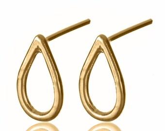 Gold Teardrop Earrings , Tear Drop Earrings , Gold Drop Stud Earrings , Drop Earrings , 14K Gold Post Earrings , Drop Stud Earrings