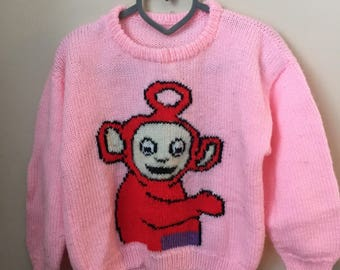 Vtg Pink Sweater with Red Telletubbie - Vintage Handknit Sweater Jumper for Baby