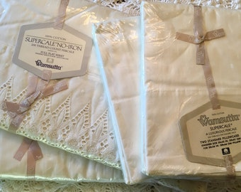 Full Set Vintage All Cotton Wamsutta Supercale - Luxurious Percale - Combed Percale Sheet Set - Ivory Eyelet Lace Sheet Set Anniversary